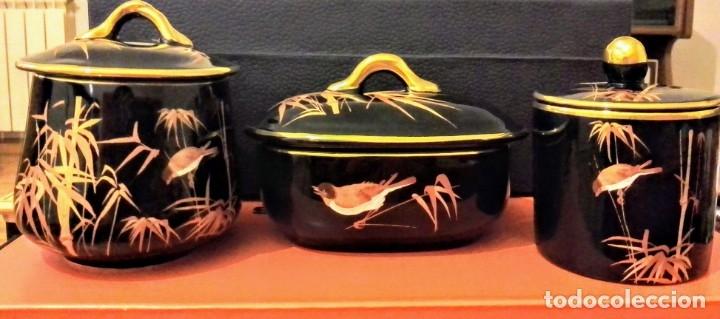 Antigüedades: Conjunto tres piezas negro y dorado. - Foto 3 - 172431349