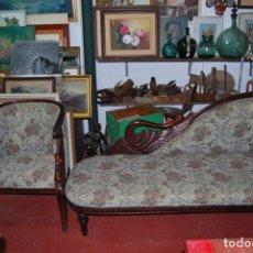 Antigüedades: SET CHAISE LONGUE & SILLÓN. Lote 172476168