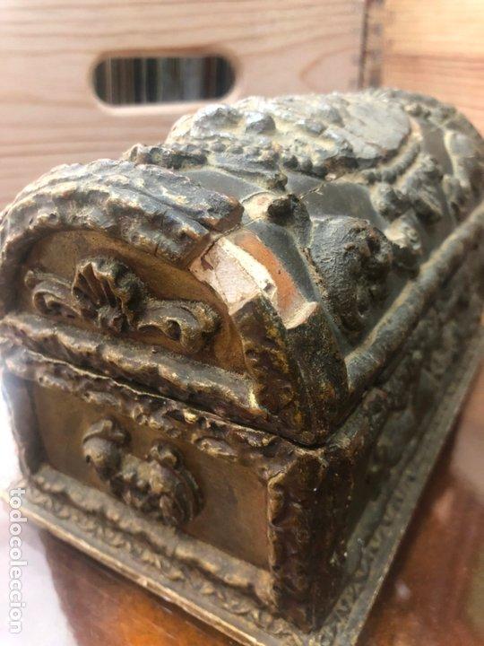 Antigüedades: ANTIGUO JOYERO COFRE REALIZADO EN MADERA SIGLO XIX - MEDIDA 20X11,5X11 CM - Foto 9 - 172521707