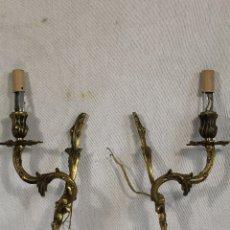 Antigüedades: PAREJA DE APLIQUES EN BRONCE . Lote 172594830