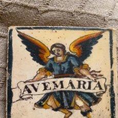 Antigüedades: AZULEJO CON MOTIVO ANGEL . Lote 172604864