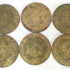 Antigüedades: SET DE 6 POSAVASOS. BRONCE. REPRODUCCION DE MONEDA DE LUIS XVI. SIGLO XX.. Lote 172605764