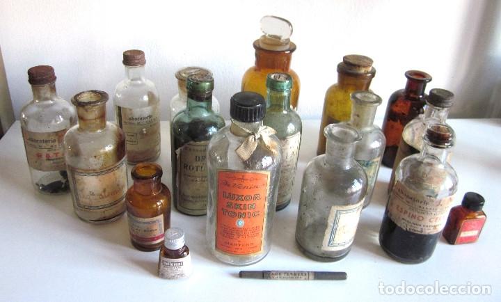 EXCELENTE LOTE 17 FRASCOS ANTIGUOS CRISTAL FARMACIA BOTICA Y BARRITA BRULL PRINCIPIOS SIGLO XX (Antigüedades - Cristal y Vidrio - Farmacia )