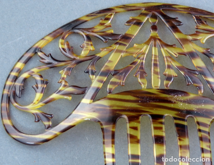 Antigüedades: Peina peineta en celuloide calado años 40 - Foto 2 - 172614784
