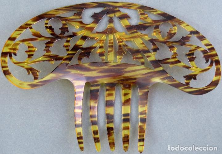 Antigüedades: Peina peineta en celuloide calado años 40 - Foto 3 - 172614784