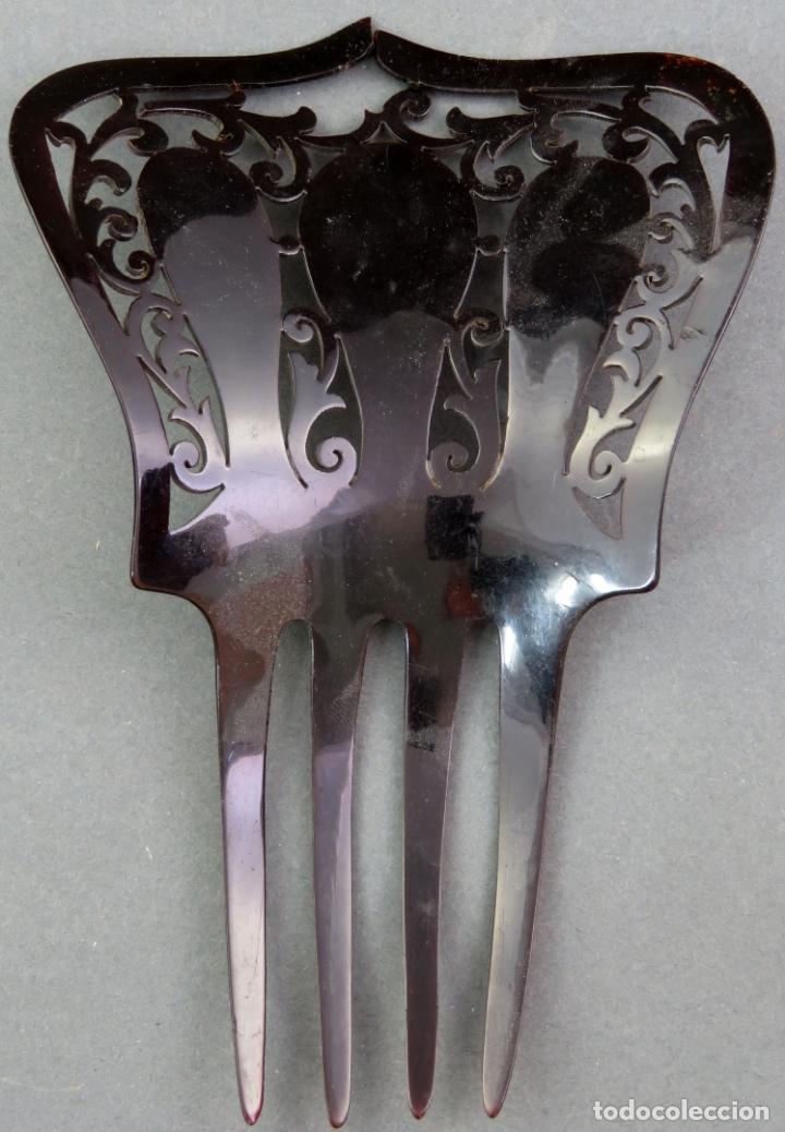 Antigüedades: Peina peineta en celuloide calado años 40 - Foto 3 - 172615447