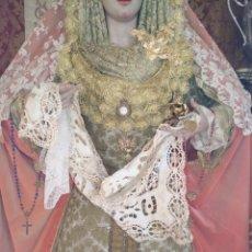 Antigüedades: PAÑUELO TOALLA 87X48 CM SUDARIO PAÑO PARA VIRGEN O MAGADALENA TAMAÑO NATURAL SEMANA SANTA ENCAJES. Lote 172619738