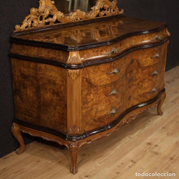 Antigüedades: Cómoda italiana con espejo en madera - Foto 5 - 172629017