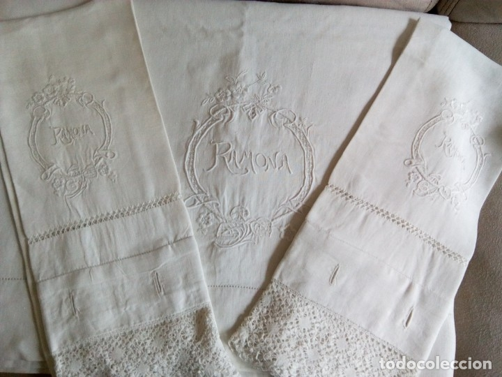* SABANA DE LINO CON FUNDAS. 2,20 M (RF:LL-41 /A*) (Antigüedades - Hogar y Decoración - Sábanas Antiguas)