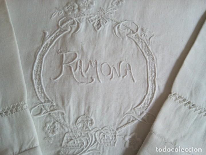 Antigüedades: * SABANA DE LINO CON FUNDAS. 2,20 M (Rf:LL-41 /a*) - Foto 2 - 172631182