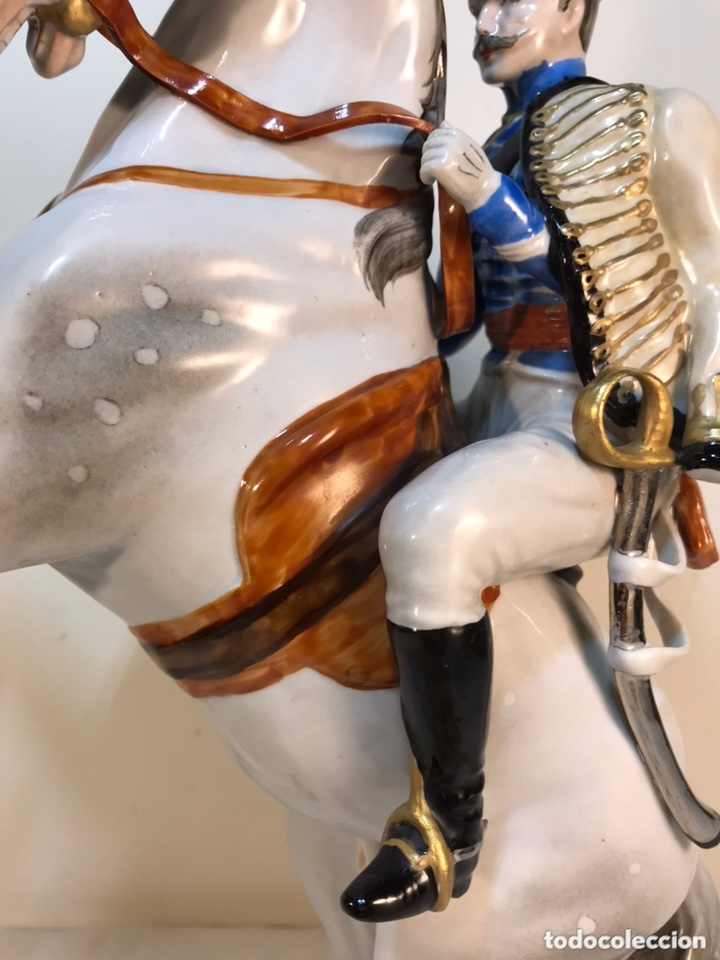 Antigüedades: Figura Porcelana- Álvarez- Jinete Caballo Rampante- 30 cm - Foto 8 - 172636234