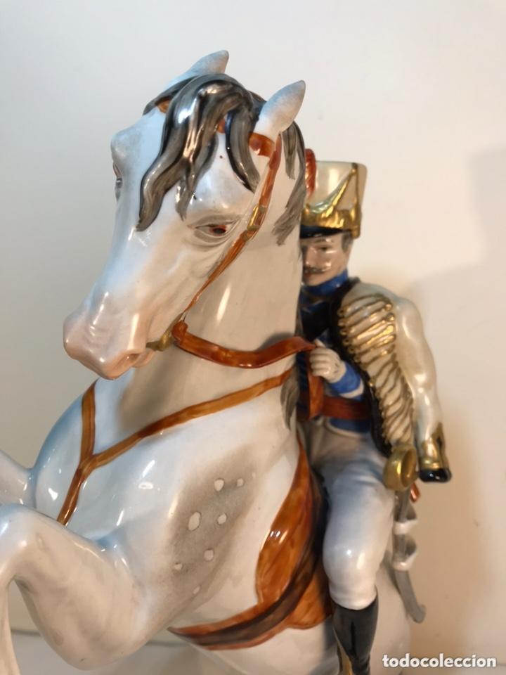 Antigüedades: Figura Porcelana- Álvarez- Jinete Caballo Rampante- 30 cm - Foto 17 - 172636234