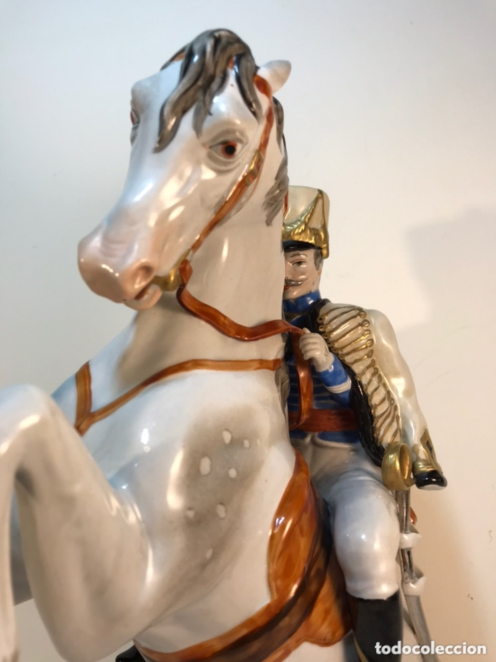 Antigüedades: Figura Porcelana- Álvarez- Jinete Caballo Rampante- 30 cm - Foto 18 - 172636234