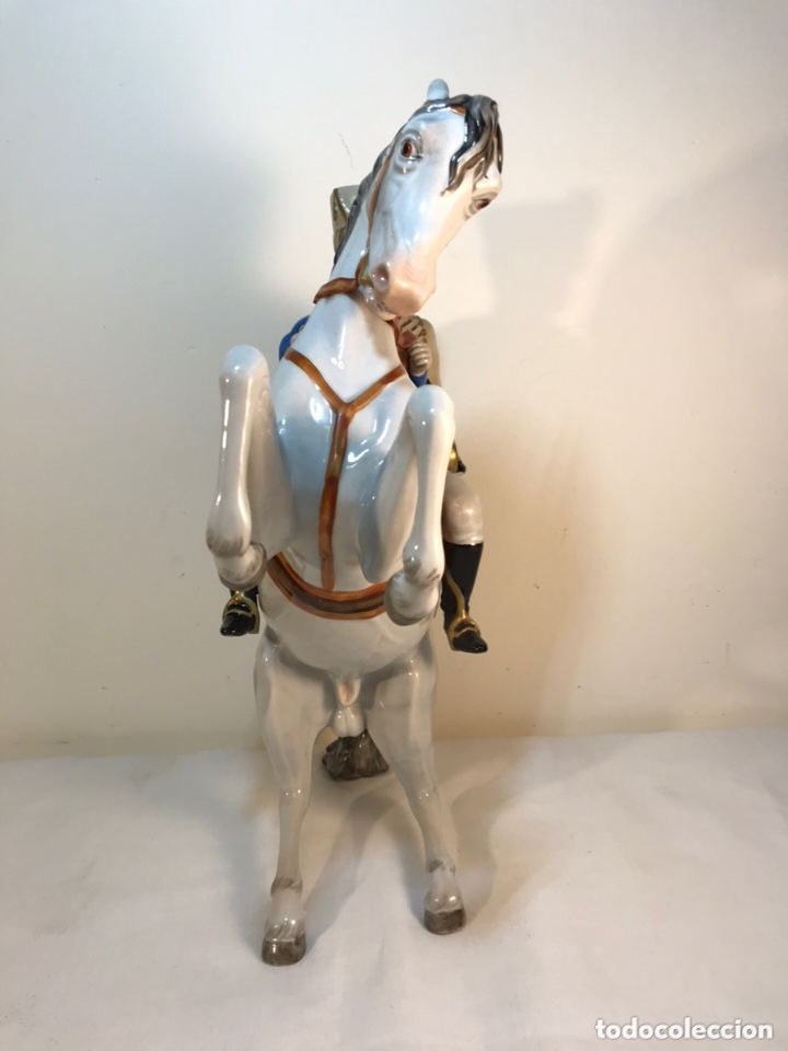 Antigüedades: Figura Porcelana- Álvarez- Jinete Caballo Rampante- 30 cm - Foto 20 - 172636234