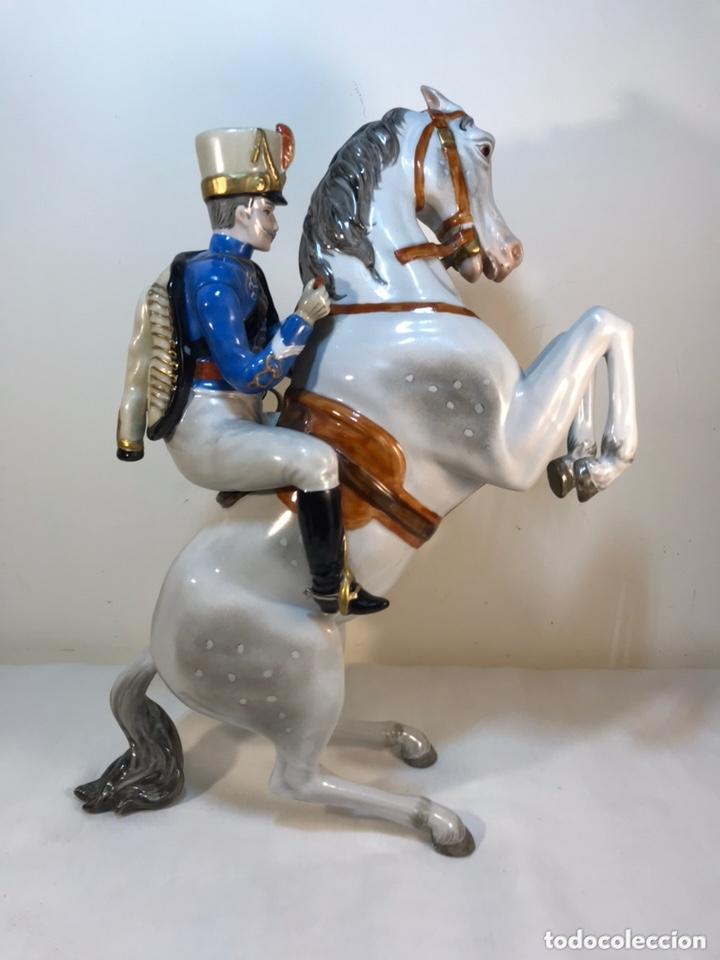 Antigüedades: Figura Porcelana- Álvarez- Jinete Caballo Rampante- 30 cm - Foto 28 - 172636234