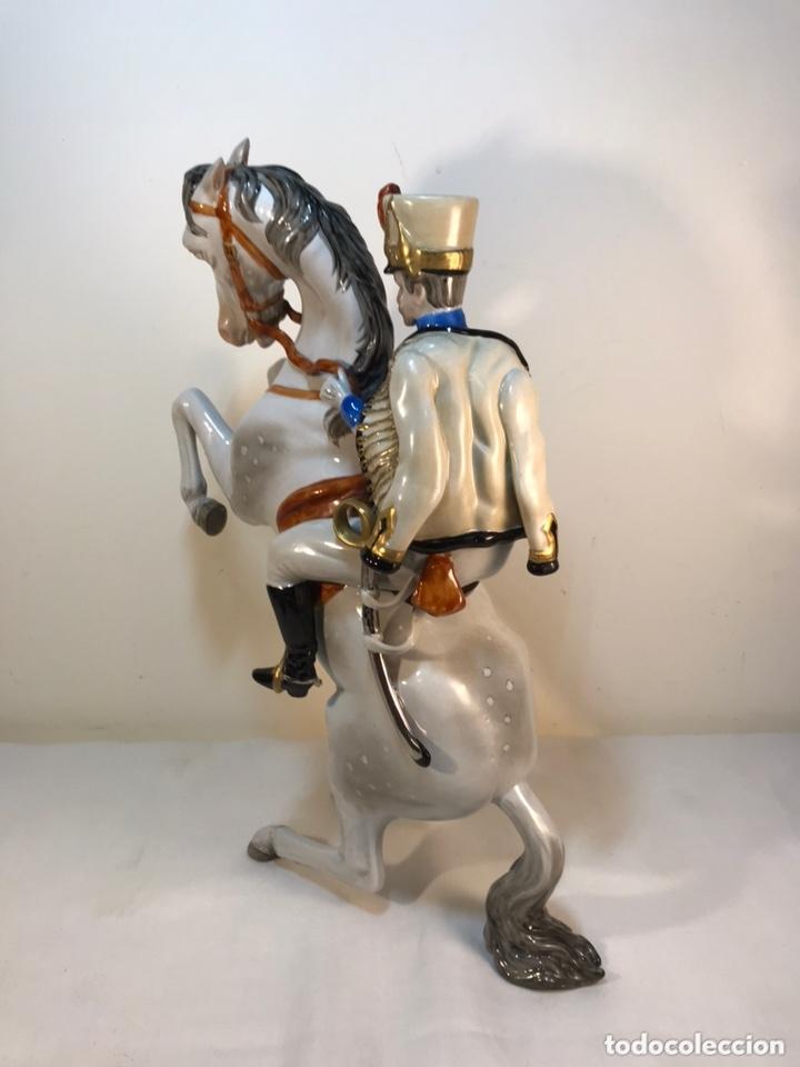Antigüedades: Figura Porcelana- Álvarez- Jinete Caballo Rampante- 30 cm - Foto 38 - 172636234