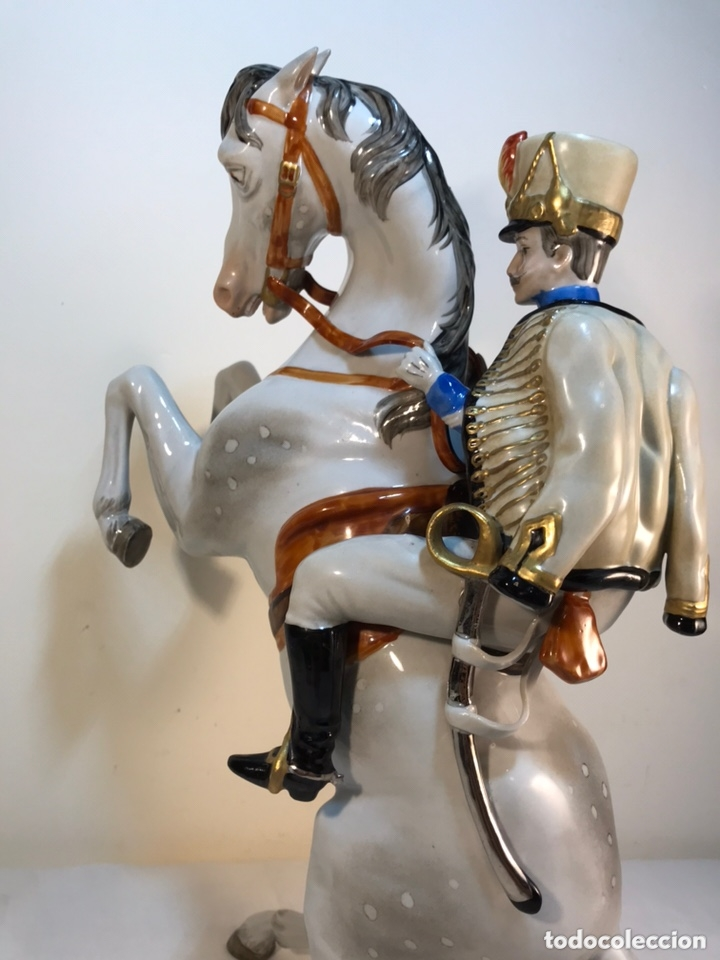 Antigüedades: Figura Porcelana- Álvarez- Jinete Caballo Rampante- 30 cm - Foto 41 - 172636234