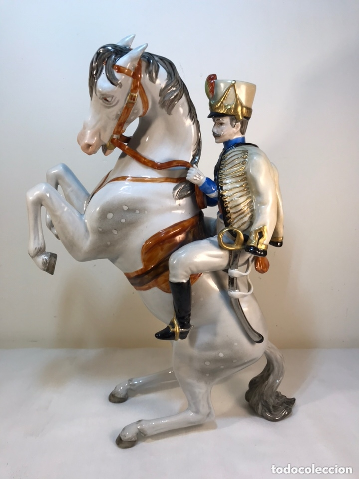 Antigüedades: Figura Porcelana- Álvarez- Jinete Caballo Rampante- 30 cm - Foto 42 - 172636234