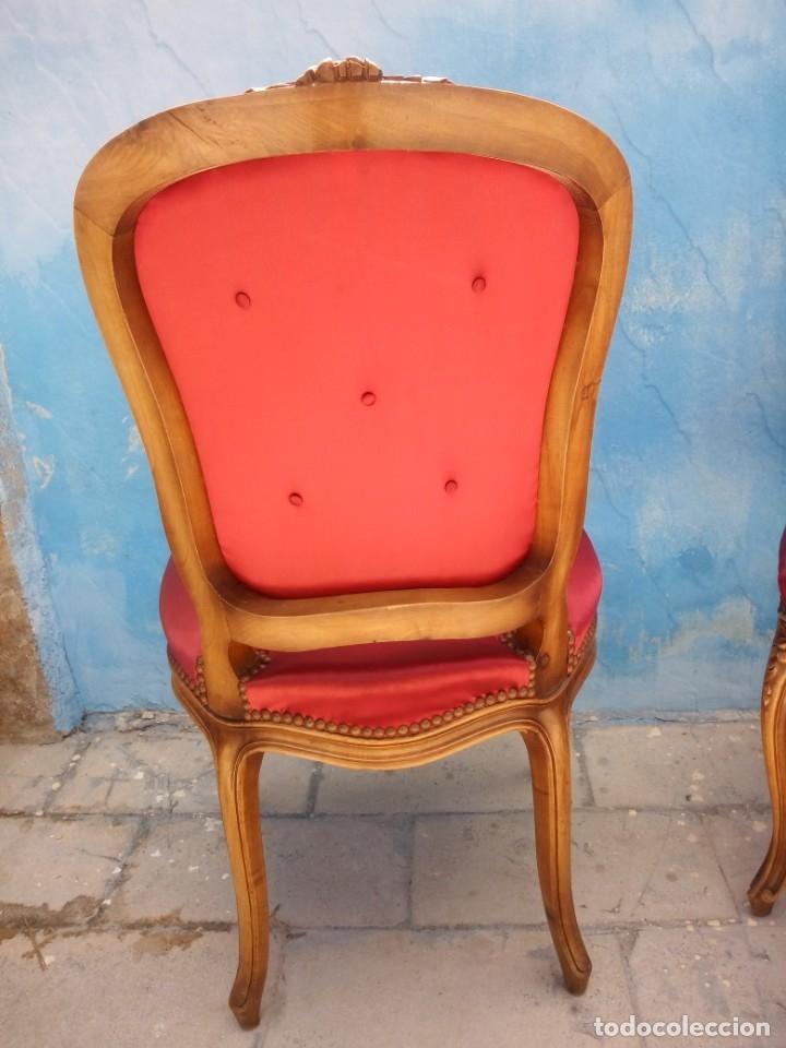 Antigüedades: Antigua pareja de sillas de roble talladas,isabelinas,tapizado de raso rojo ,de muelles,siglo xix - Foto 10 - 172637758