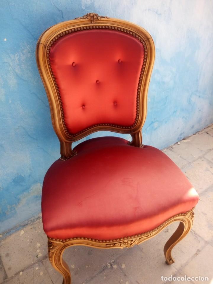 Antigüedades: Antigua pareja de sillas de roble talladas,isabelinas,tapizado de raso rojo ,de muelles,siglo xix - Foto 15 - 172637758