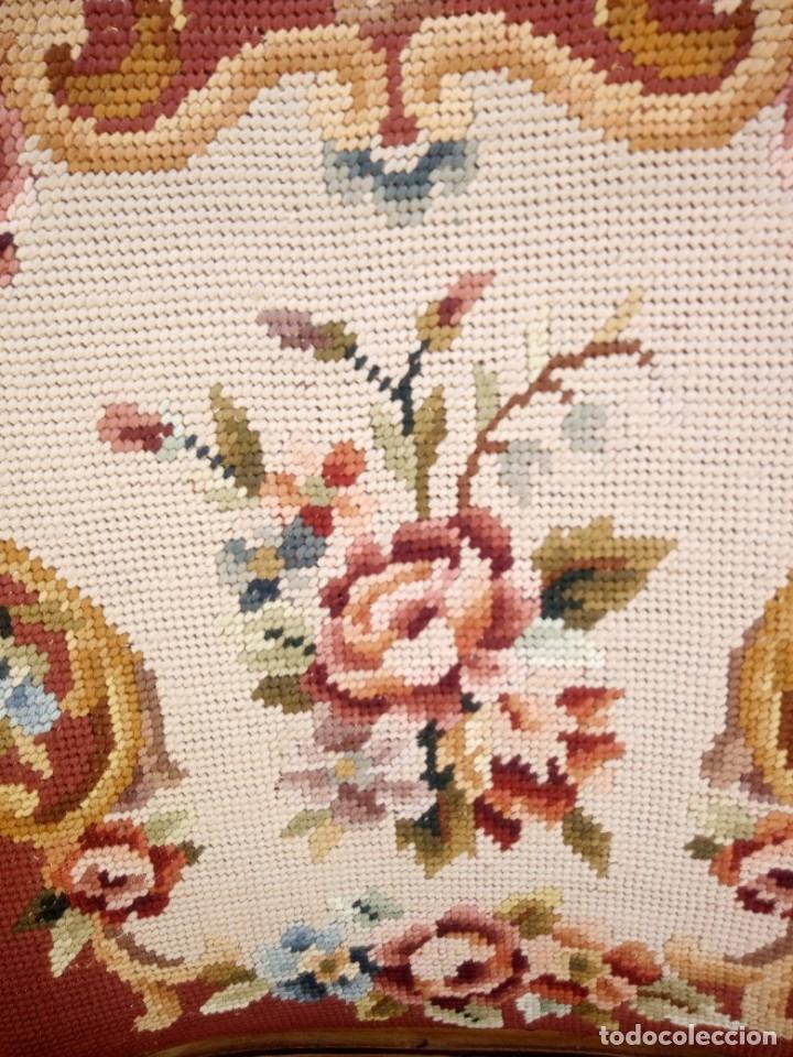 Antigüedades: Antiguo sillon de roble tallado,tapizado bordado a mano,isabelino,de muelles,siglo xix - Foto 6 - 172638064
