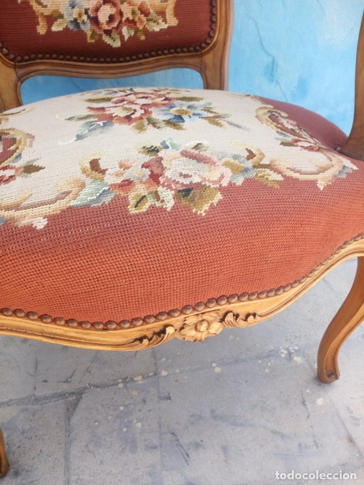Antigüedades: Antiguo sillon de roble tallado,tapizado bordado a mano,isabelino,de muelles,siglo xix - Foto 11 - 172638064