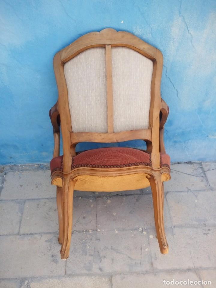 Antigüedades: Antiguo sillon de roble tallado,tapizado bordado a mano,isabelino,de muelles,siglo xix - Foto 13 - 172638064