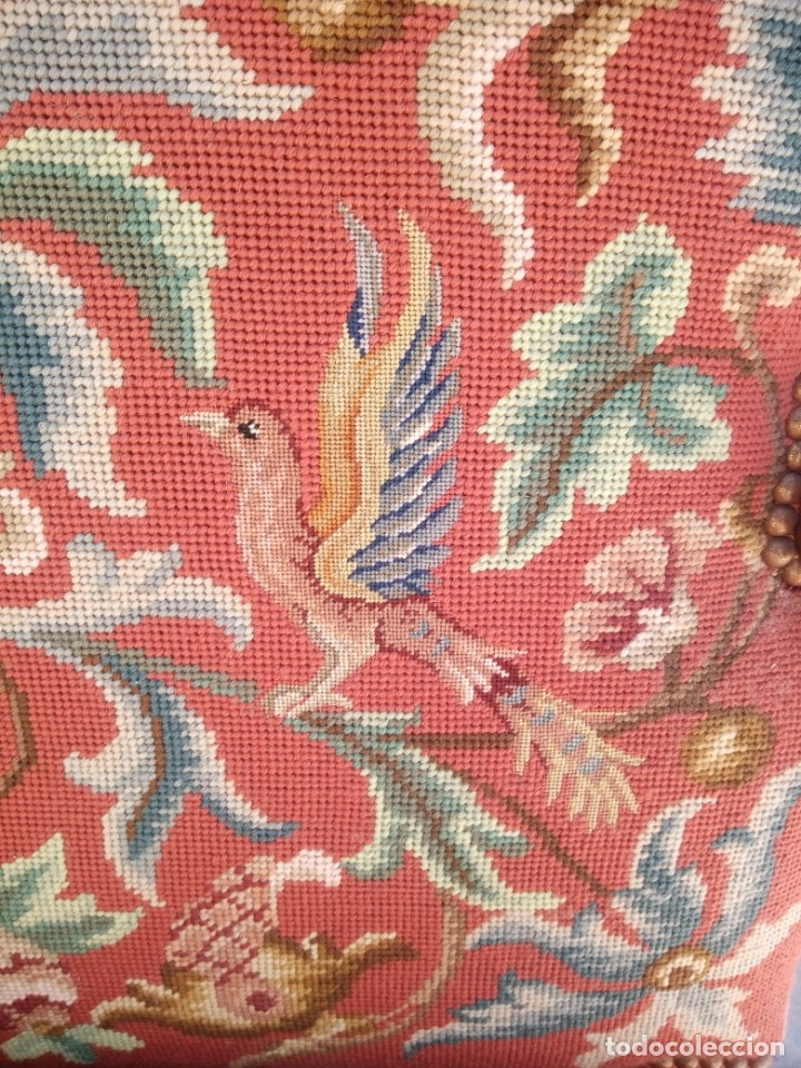 Antigüedades: Antiguo sillon de roble tallado isabelino,tapizado bordado a mano,rojo floral,de muelles,siglo xix - Foto 6 - 172638982