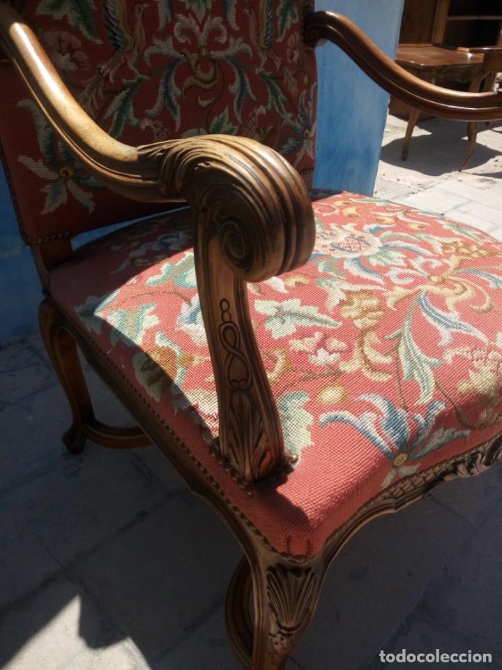 Antigüedades: Antiguo sillon de roble tallado isabelino,tapizado bordado a mano,rojo floral,de muelles,siglo xix - Foto 7 - 172638982