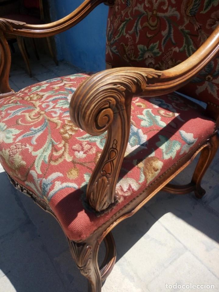 Antigüedades: Antiguo sillon de roble tallado isabelino,tapizado bordado a mano,rojo floral,de muelles,siglo xix - Foto 8 - 172638982