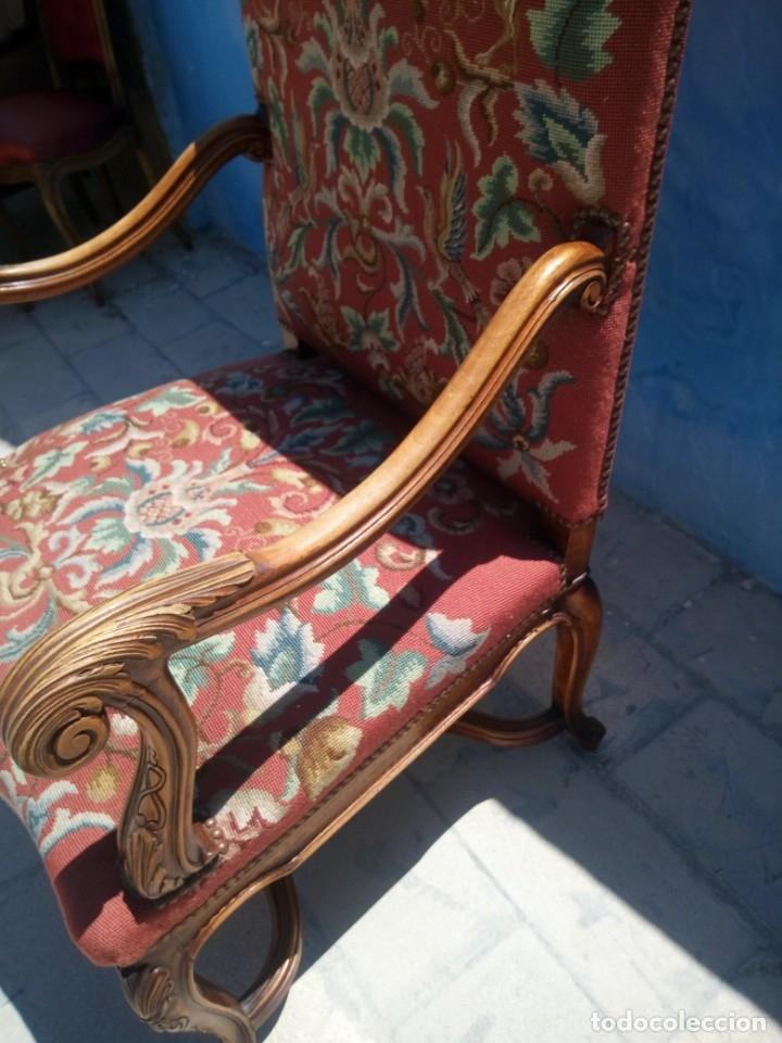 Antigüedades: Antiguo sillon de roble tallado isabelino,tapizado bordado a mano,rojo floral,de muelles,siglo xix - Foto 10 - 172638982