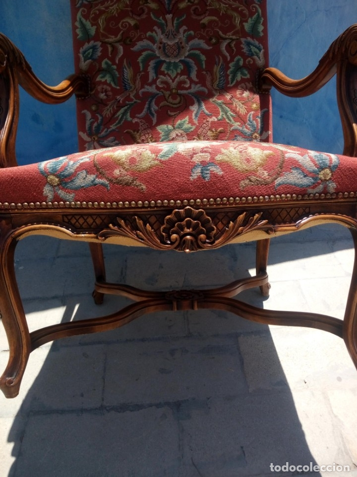 Antigüedades: Antiguo sillon de roble tallado isabelino,tapizado bordado a mano,rojo floral,de muelles,siglo xix - Foto 11 - 172638982