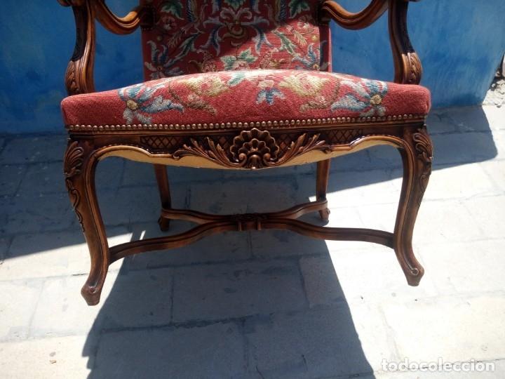 Antigüedades: Antiguo sillon de roble tallado isabelino,tapizado bordado a mano,rojo floral,de muelles,siglo xix - Foto 12 - 172638982