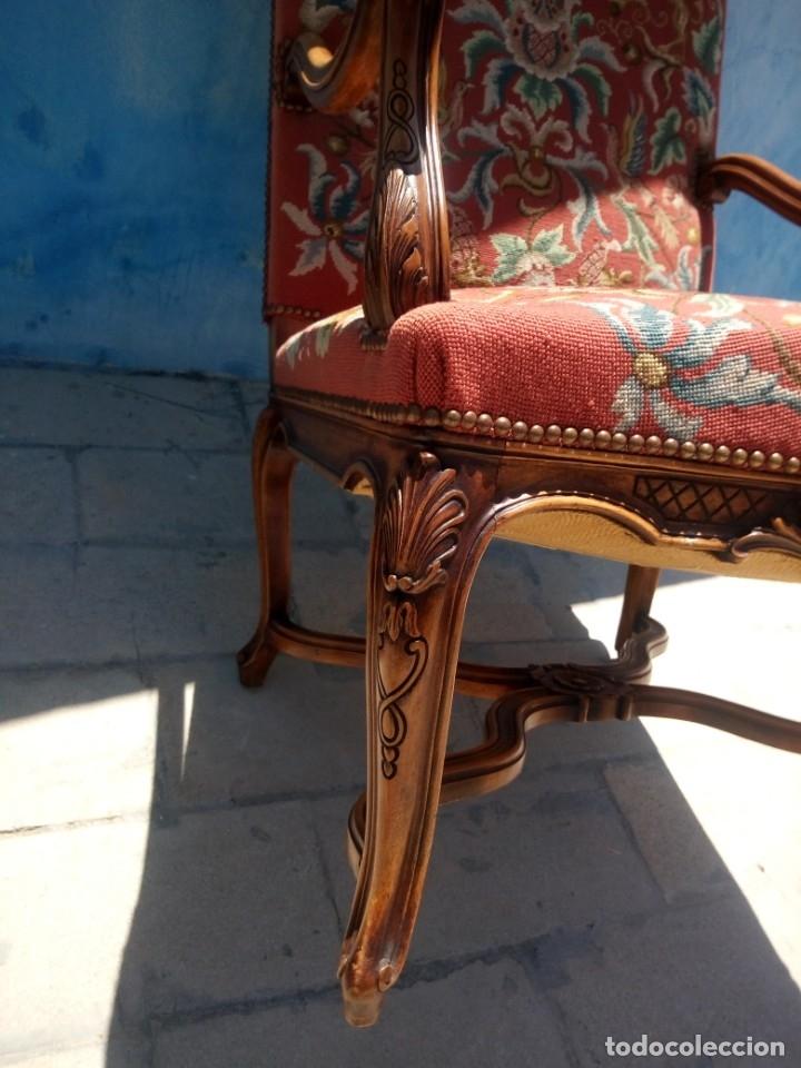 Antigüedades: Antiguo sillon de roble tallado isabelino,tapizado bordado a mano,rojo floral,de muelles,siglo xix - Foto 14 - 172638982