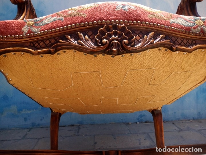 Antigüedades: Antiguo sillon de roble tallado isabelino,tapizado bordado a mano,rojo floral,de muelles,siglo xix - Foto 17 - 172638982