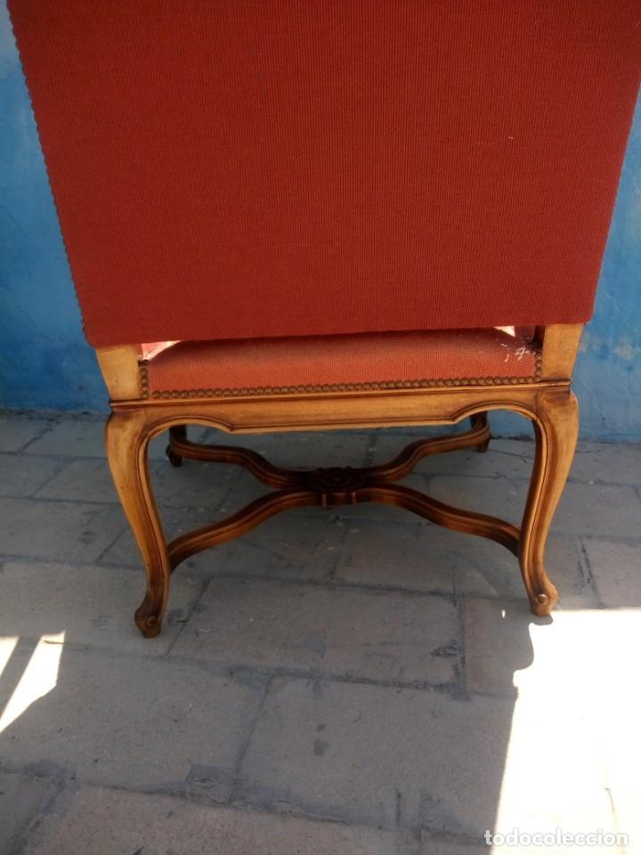 Antigüedades: Antiguo sillon de roble tallado isabelino,tapizado bordado a mano,rojo floral,de muelles,siglo xix - Foto 19 - 172638982