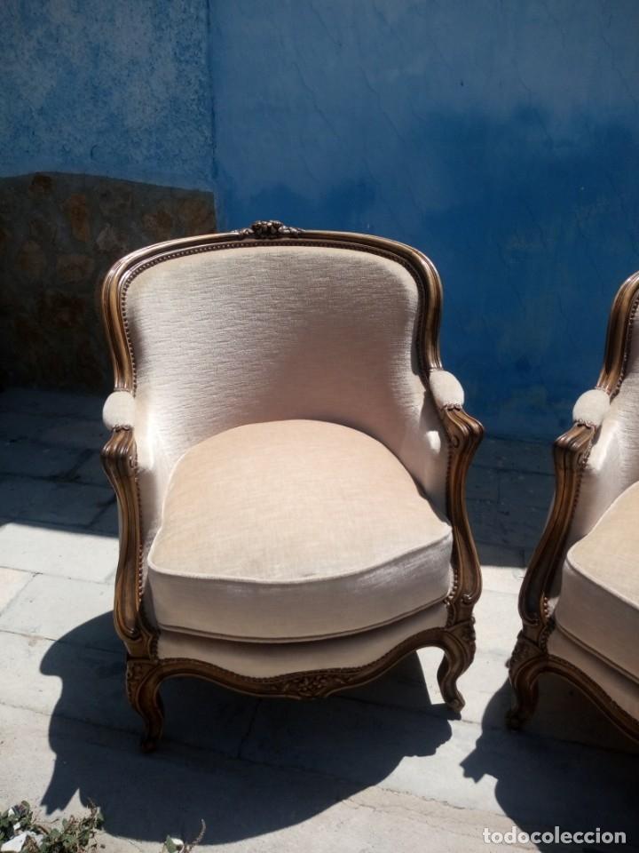 Antigüedades: Preciosos sofas de madera de roble isabelinos tapizado blanco roto,de muelles,siglo xix - Foto 2 - 172640677