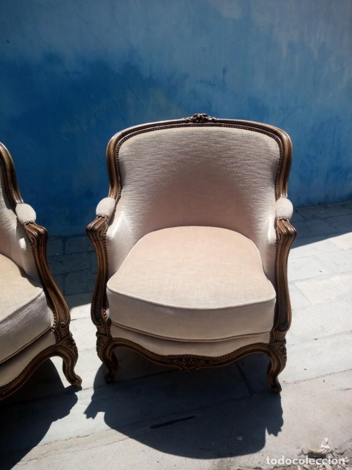 Antigüedades: Preciosos sofas de madera de roble isabelinos tapizado blanco roto,de muelles,siglo xix - Foto 3 - 172640677