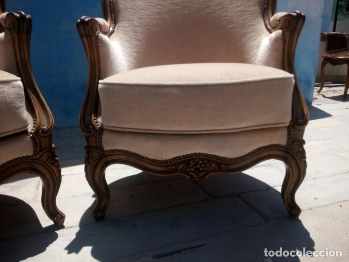 Antigüedades: Preciosos sofas de madera de roble isabelinos tapizado blanco roto,de muelles,siglo xix - Foto 4 - 172640677