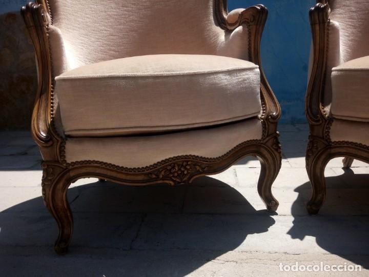 Antigüedades: Preciosos sofas de madera de roble isabelinos tapizado blanco roto,de muelles,siglo xix - Foto 5 - 172640677