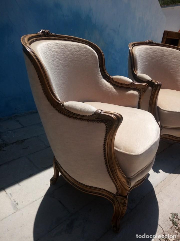 Antigüedades: Preciosos sofas de madera de roble isabelinos tapizado blanco roto,de muelles,siglo xix - Foto 6 - 172640677