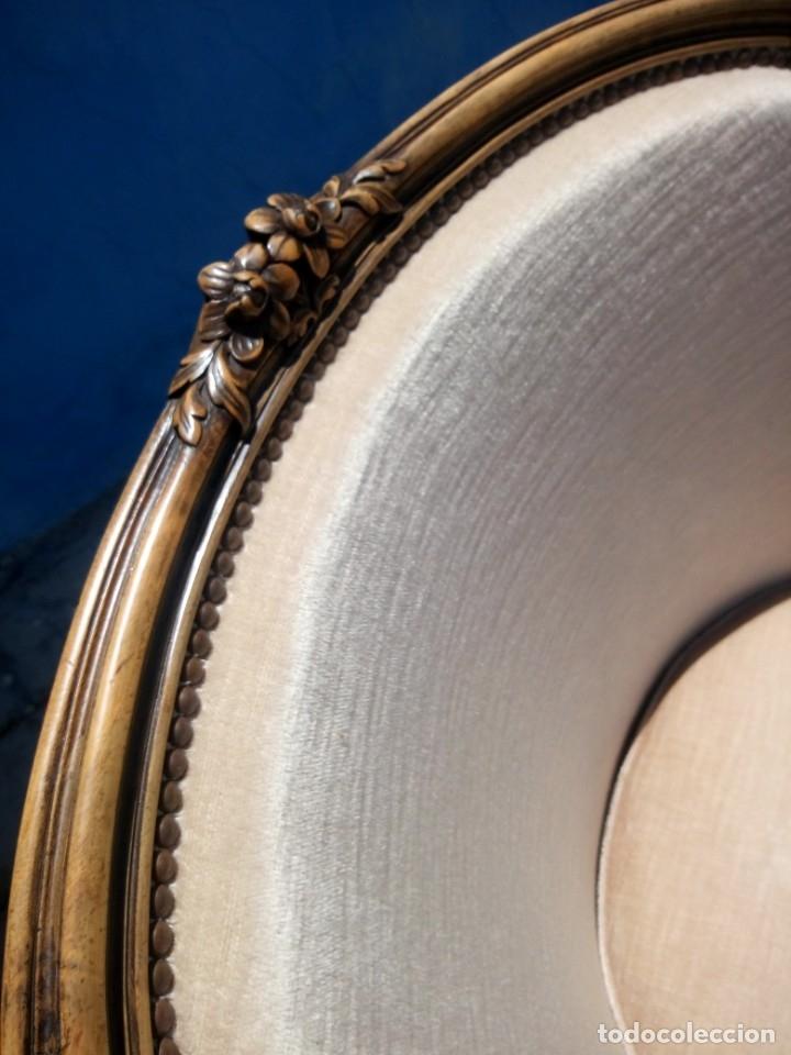 Antigüedades: Preciosos sofas de madera de roble isabelinos tapizado blanco roto,de muelles,siglo xix - Foto 7 - 172640677