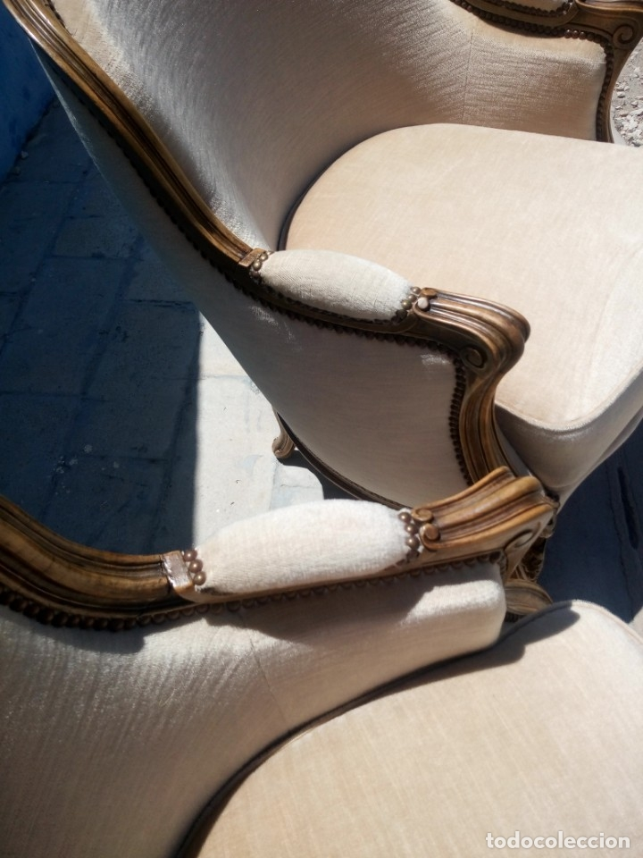 Antigüedades: Preciosos sofas de madera de roble isabelinos tapizado blanco roto,de muelles,siglo xix - Foto 8 - 172640677