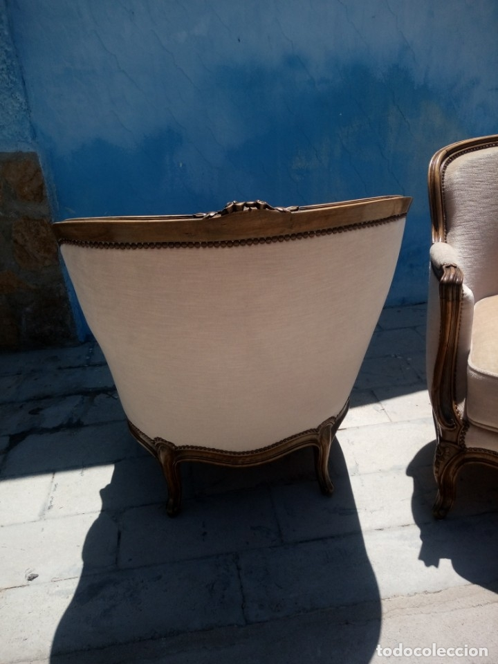 Antigüedades: Preciosos sofas de madera de roble isabelinos tapizado blanco roto,de muelles,siglo xix - Foto 9 - 172640677
