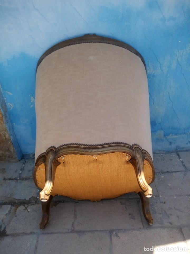 Antigüedades: Preciosos sofas de madera de roble isabelinos tapizado blanco roto,de muelles,siglo xix - Foto 10 - 172640677