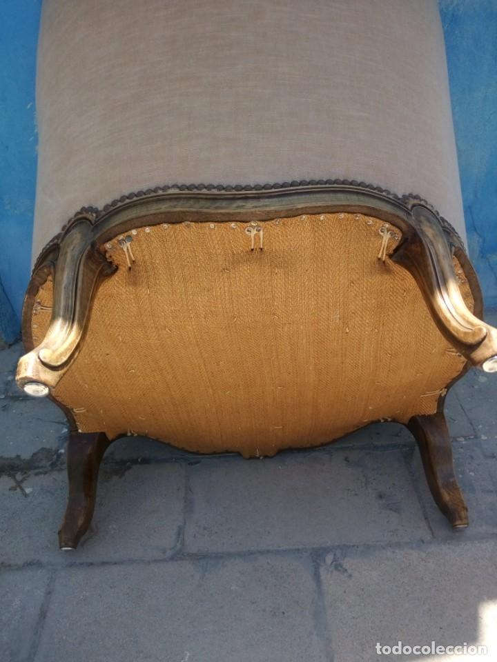 Antigüedades: Preciosos sofas de madera de roble isabelinos tapizado blanco roto,de muelles,siglo xix - Foto 11 - 172640677