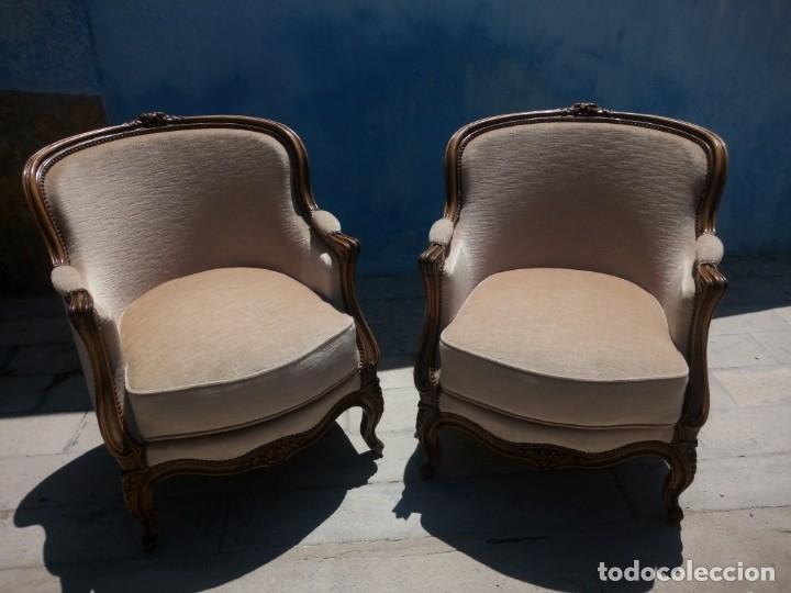 Antigüedades: Preciosos sofas de madera de roble isabelinos tapizado blanco roto,de muelles,siglo xix - Foto 12 - 172640677