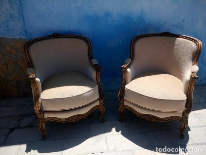 Antigüedades: Preciosos sofas de madera de roble isabelinos tapizado blanco roto,de muelles,siglo xix - Foto 13 - 172640677