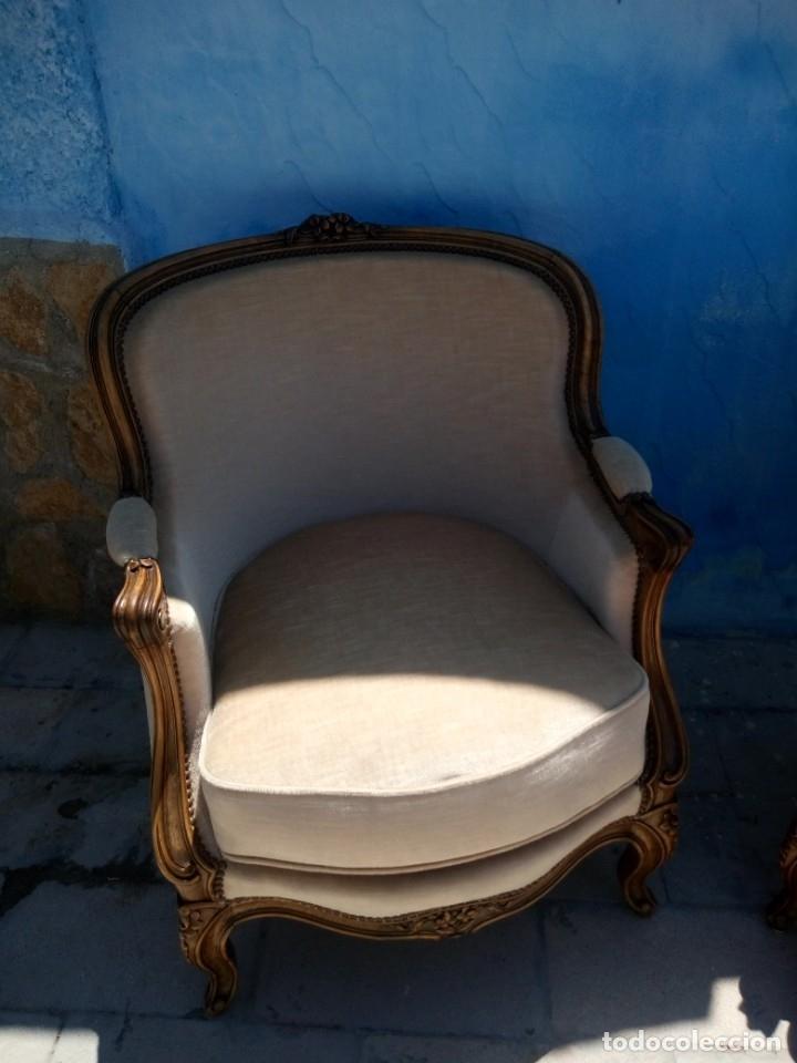 Antigüedades: Preciosos sofas de madera de roble isabelinos tapizado blanco roto,de muelles,siglo xix - Foto 14 - 172640677