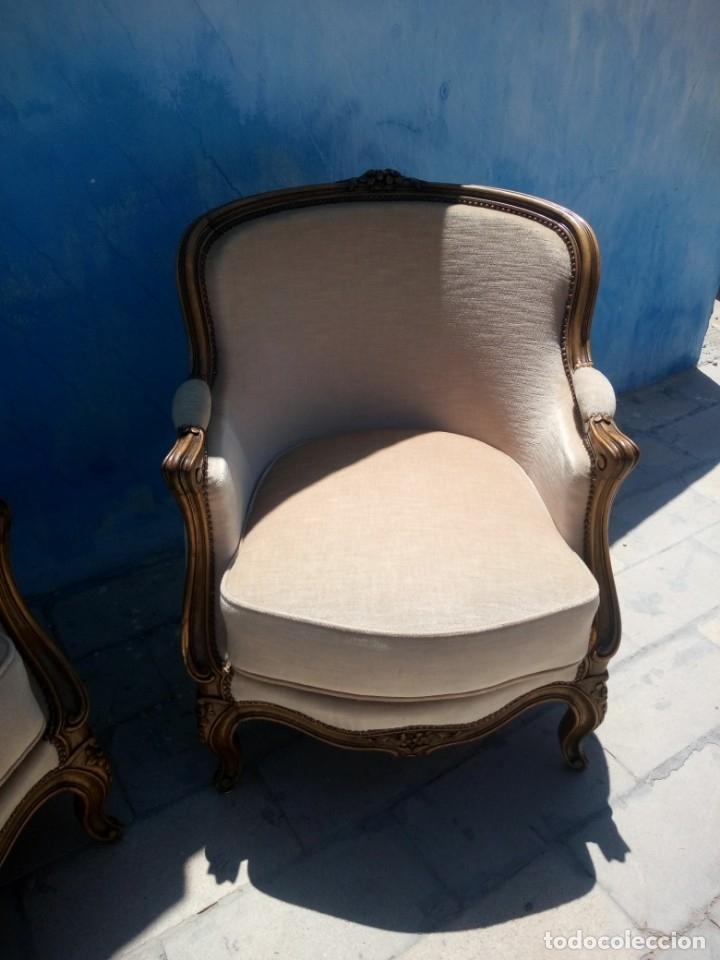 Antigüedades: Preciosos sofas de madera de roble isabelinos tapizado blanco roto,de muelles,siglo xix - Foto 15 - 172640677